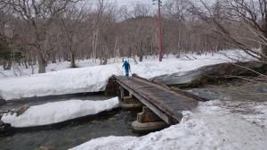 木道をスキーで歩くの巻